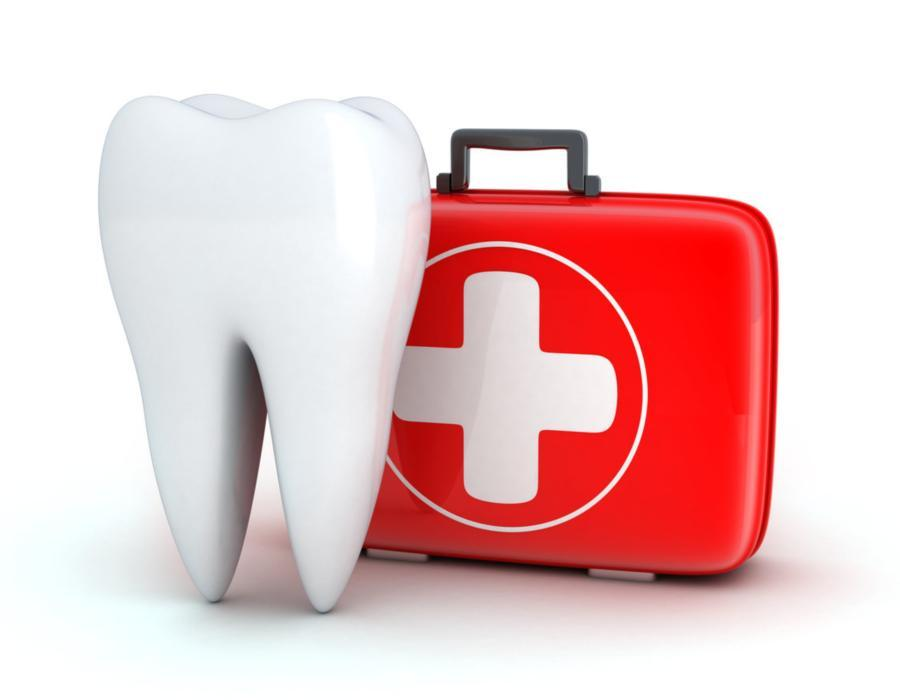 Illustration of tooth next to first aid kit | Dentist Elgin IL