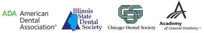 Logos for American Dental Association, Illinois State Dental Society, Chicago Dental Society, and Academy of General Dentistry